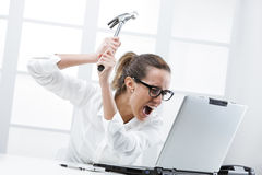Computer problems. Freaked out business woman with a hammer ready to smash her laptop computer Stock Image