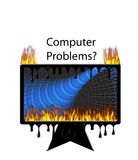 Computer Problems?. Burning melting computer with words Computer Problems Royalty Free Stock Photography