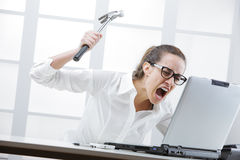 Computer problems. Freaked out businesswoman with a hammer ready to smash her laptop computer Royalty Free Stock Photo