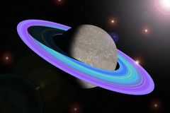 Computer processing of Saturn in the universe stock photography