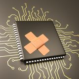 Computer Processor Bug Patch Concept. Computer Processor with Patch 3D Illustration, Security Concept Stock Image
