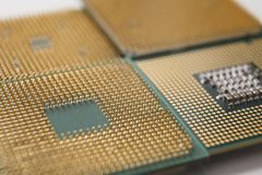 Computer processor chip close-up. New CPU, technology repair shop, device upgrade, electronic development concept Royalty Free Stock Photos