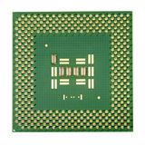 Computer processor chip isolated on white background. Royalty Free Stock Photography