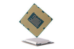 Computer Processor Chips white background Stock Photo