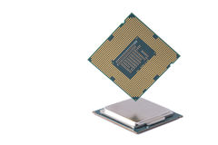 Computer Processor Chips white background Stock Photography