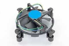 Computer processor cooling fan on a heatsink Royalty Free Stock Photo