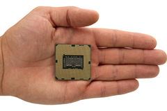 Computer processor at hand Stock Image