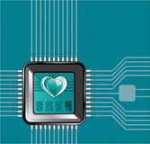 Computer processor with a heart and a code Stock Images