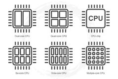 Computer Processor Icon Set Stock Photography