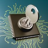 Computer Processor Security Concept. Computer Processor with Key 3D Illustration, Security Concept Royalty Free Stock Image