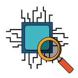 Computer processor with magnifying glass  isolated icon design Royalty Free Stock Photography