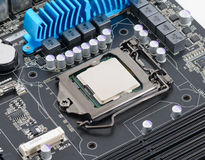 Computer processor. On motherboard CPU Royalty Free Stock Photos