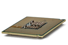 Computer processor, multicore CPU, isolated on white background Stock Photo