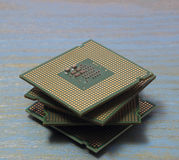 Computer processor on a wooden background Royalty Free Stock Photo