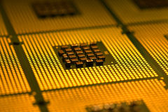 Computer processors aligned as background Stock Photography