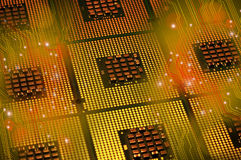 Computer processors and electronic circuit with lighting effects postproduction. Background royalty free stock photos