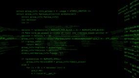 Computer program code running in a virtual space. Camera rotates 360 degrees. Green/black version royalty free illustration
