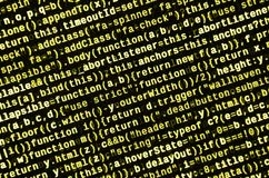 Computer program preview. Programming code typing. Information technology website coding standards for web design. Modern tech. CSS, JavaScript and HTML usage stock image