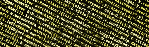 Computer program preview. Programming code typing. Information technology website coding standards for web design. Modern tech. CSS, JavaScript and HTML usage royalty free stock image