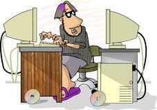 Computer Programmer. This illustration that I created depicts a guy working on 2 computers at once Stock Images