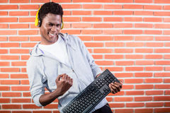 Computer programmer with laptop Royalty Free Stock Photos