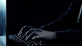 Computer programmer typing, hacker hacking bank Stock Photos