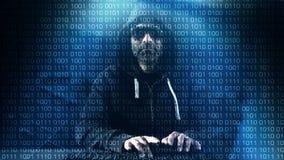 Computer programmer typing on keyboard, hacker hacking at night Royalty Free Stock Photo