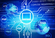Computer-Programmierung im globalen Geschäft lizenzfreie abbildung