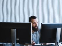 Computer programming software developer office royalty free stock image