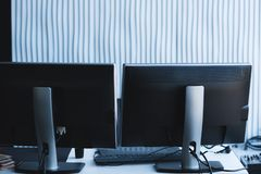 Computer programming software developer workplace stock image