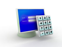 Computer protected with pin code stock illustration