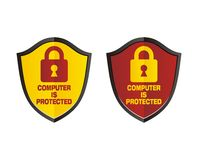 Computer is protected - shield signs Stock Images
