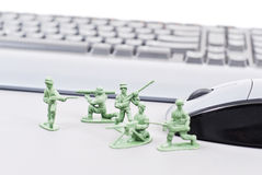 Computer Protection. From Hackers With Army Squad Protecting Computer Stock Photo