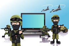 Computer protection. A vector illustration of an army of soldiers protecting a laptop Royalty Free Stock Images
