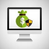 Computer protection bag money icon design Stock Photo