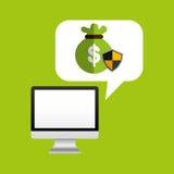 Computer protection bag money icon design Stock Photography