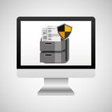Computer protection file document icon design Royalty Free Stock Photography