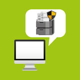 Computer protection file document icon design Stock Photo