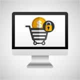 Computer protection money coin icon design Stock Photo