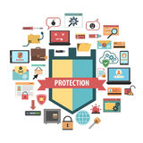 Computer protection security concept  icons. Computer virus protection shield and malware removal software security concept banner flat icons composition Stock Photos