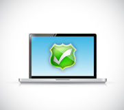 Computer and protection selection approve shield Royalty Free Stock Photography