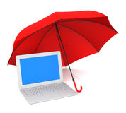 Computer Protection and Umbrella Stock Images