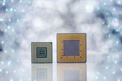 Computer-Prozessor Chips On Light Background Lizenzfreie Stockbilder