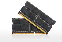 Computer RAM Memory Cards. Isolated over white royalty free stock photo