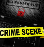 Computer ransomware crime scene Stock Photos