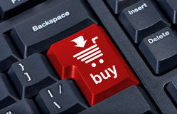 Computer red button buy with cart, Royalty Free Stock Images