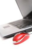 Computer and red mouse Stock Images