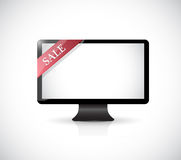 Computer and red sale tag illustration Royalty Free Stock Images
