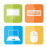 Computer related icons. Computer related device icons vector Stock Image