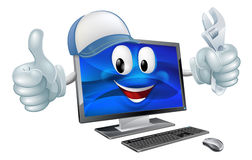 Computer repair cartoon character Royalty Free Stock Image